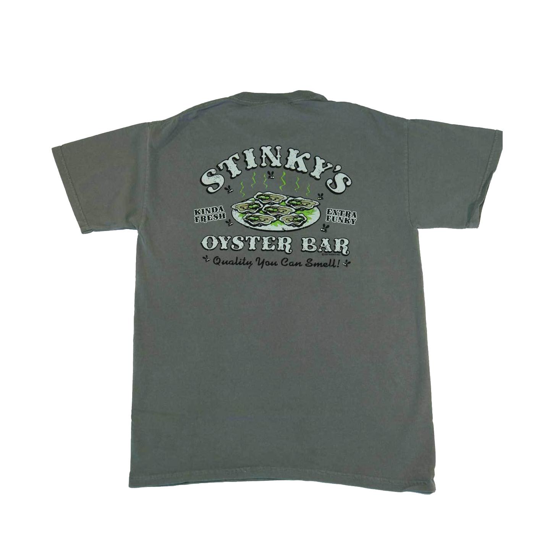 Stinky 39 s oyster bar beaufort nc t shirts mens short for Custom bar t shirts