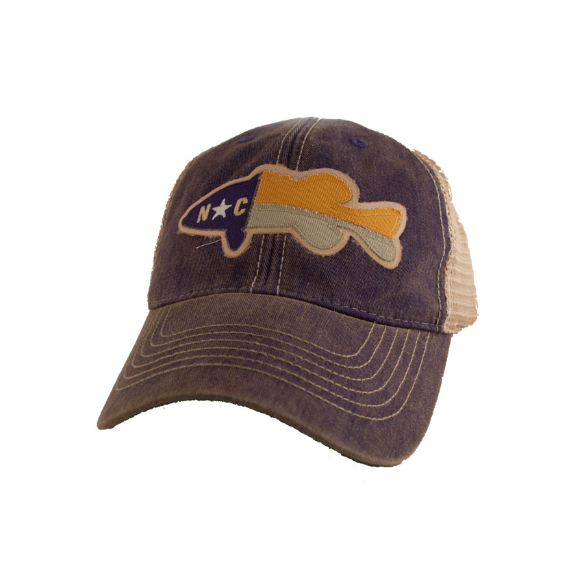Nc fish flag legacy trucker hat state legacy mens for Womens fishing hat
