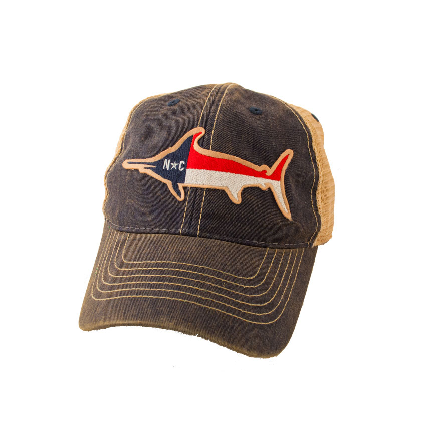 Nc marlin fish flag trucker hat state legacy featured for Womens fishing hat