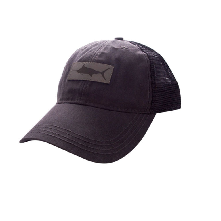 HAT-TruckerMarlinLeatherPatch-CharcoalBlack