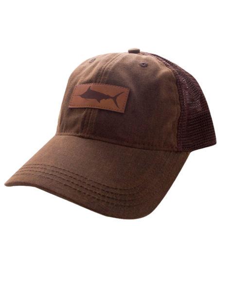 HAT-TruckerMarlinLeatherPatch-DarkBrownBrown