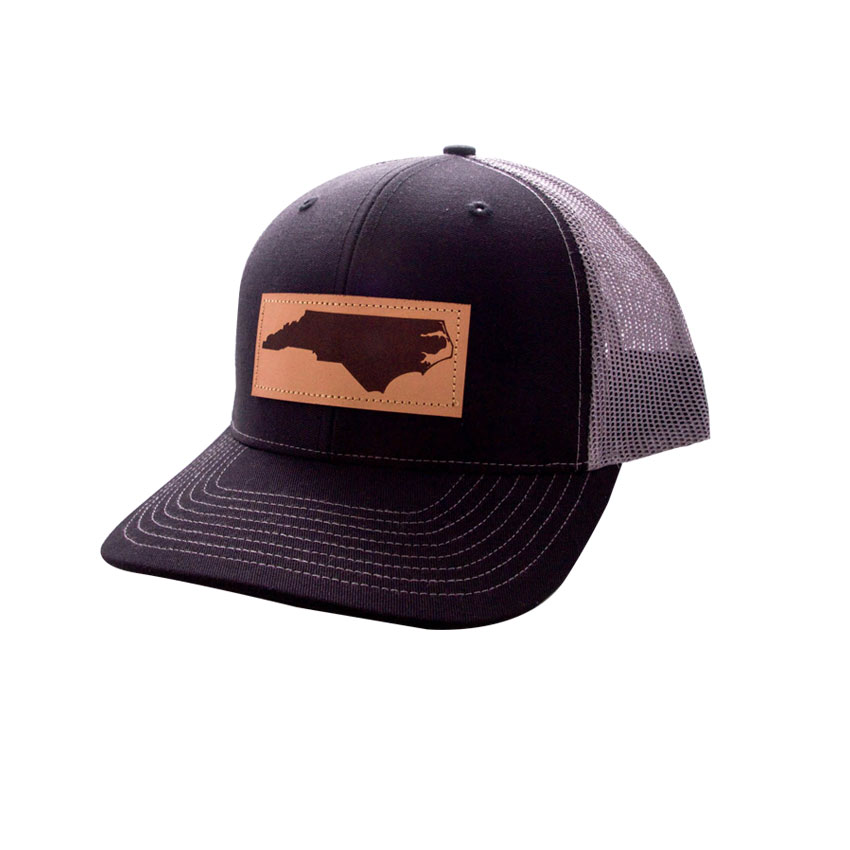 HAT-TruckerNCLeatherPatch-BlackCharcoal Trucker Hat NC Leather Patch :: Island Traders, Featured, Mens, Hats